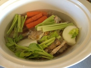 bones and veggies in crockpot